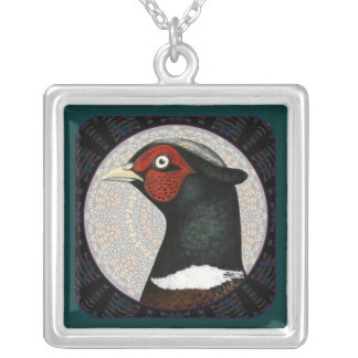 Ringneck Pheasant Circle Silver Plated Necklace
