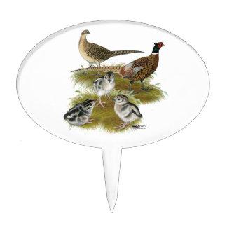 Ringneck Pheasant Family Cake Picks