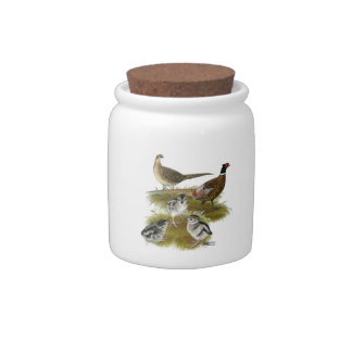 Ringneck Pheasant Family Candy Jars