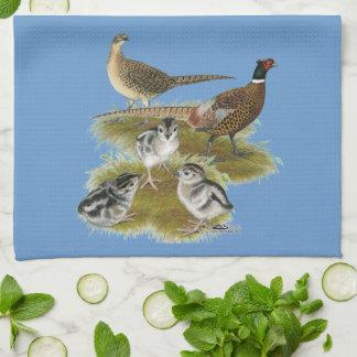 Ringneck Pheasant Family Kitchen Towels