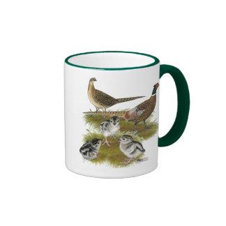 Ringneck Pheasant Family Ringer Coffee Mug