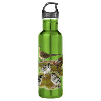 Ringneck Pheasant Family Stainless Steel Water Bottle