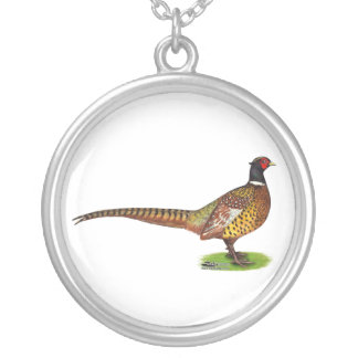 Ringneck Pheasant Rooster Silver Plated Necklace