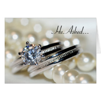 Rings and Pearls Engagement Announcement Card