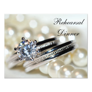 Rings and Pearls Rehearsal Dinner Invitation