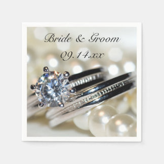 Rings and Pearls Wedding Paper Napkins