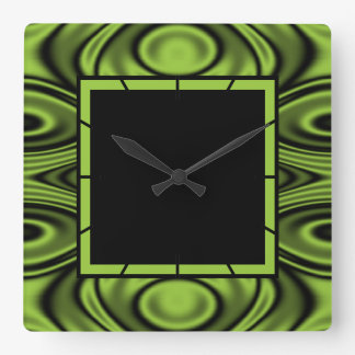 Rings and Ripples Lime Green Square Wall Clock