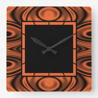 Rings and Ripples Orange Square Wall Clock