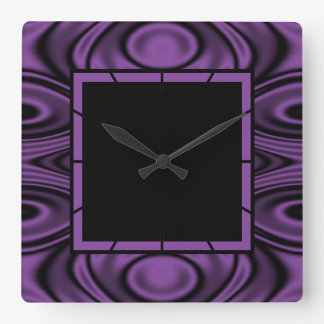 Rings and Ripples Purple Square Wall Clock