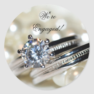 Rings and White Pearls Engagement Envelope Seals