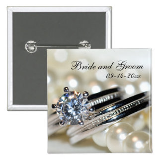 Rings and White Pearls Wedding 2 Inch Square Button