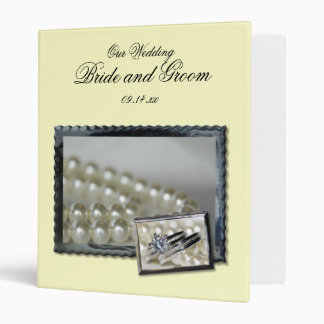 Rings and White Pearls Wedding Binder