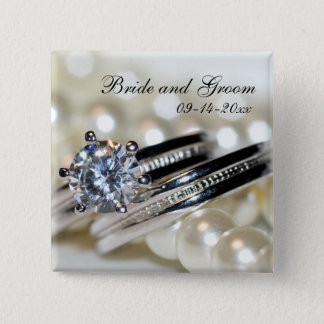 Rings and White Pearls Wedding Button