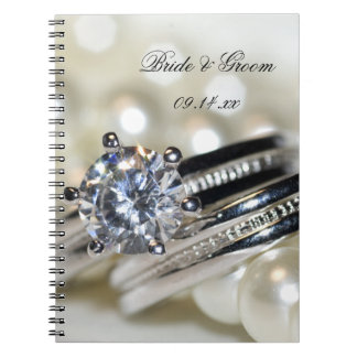 Rings and White Pearls Wedding Notebook