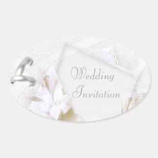 Rings & Champagne Glasses Wedding Invitation Oval Sticker