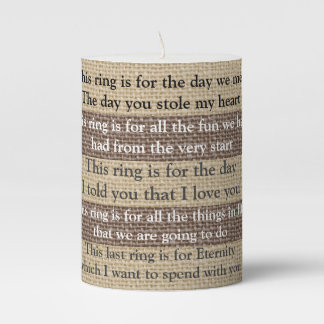 Rings from my heart Romantic pillar candle