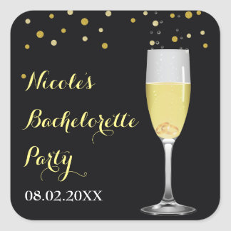 Rings in Champagne Glass Gold Glitter Bachelorette Square Sticker