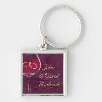 Rings In Wedding Glass Set Silver-Colored Square Keychain