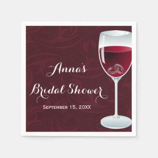 Rings in Wine Glass Bridal Wedding Paper Napkin