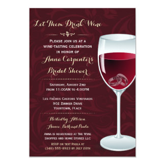 Rings in Wine Glass Bridal Wedding Shower Card