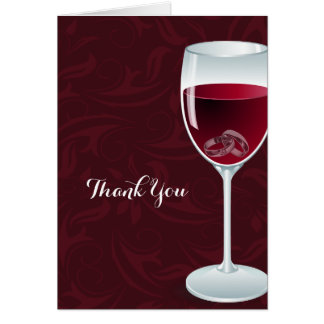 Rings in Wine Glass Bridal Wedding Shower Thanks Card