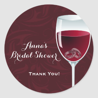 Rings in Wine Glass Bridal Wedding Shower Thanks Classic Round Sticker