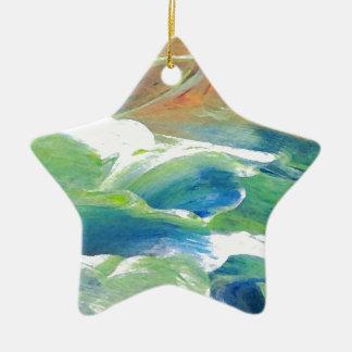 Rings of Saturn Ocean Waves Sea Art Abstract Ceramic Ornament
