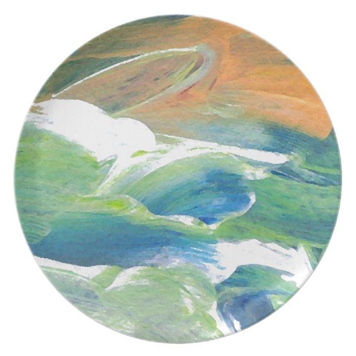 Rings of Saturn Ocean Waves Sea Art Abstract Melamine Plate