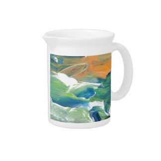 Rings of Saturn Ocean Waves Sea Art Abstract Pitcher