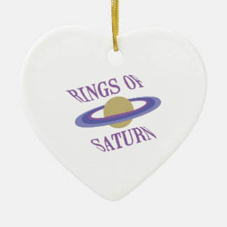 Rings of Saturn Double-Sided Heart Ceramic Christmas Ornament