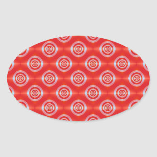 Rings on Red Tiled Oval Sticker