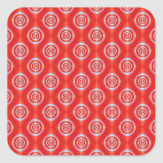 Rings on Red Tiled Square Sticker