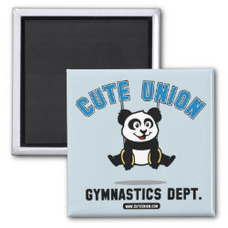 Square Magnet with Cute Union Gymnastics Dept: Rings design