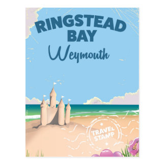 Ringstead Bay Weymouth vintage travel poster Postcard