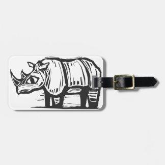 Rinoceronte africano etiqueta para equipaje