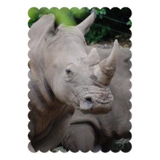 Rinoceronte amistoso invitación 12,7 x 17,8 cm