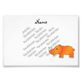 Rinoceronte anaranjado conocido personalizado arte fotografico