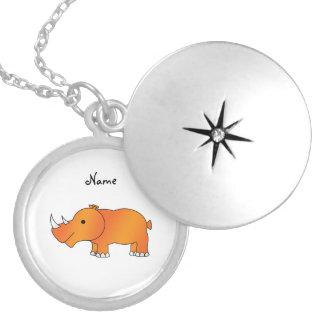 Rinoceronte anaranjado conocido personalizado pendientes