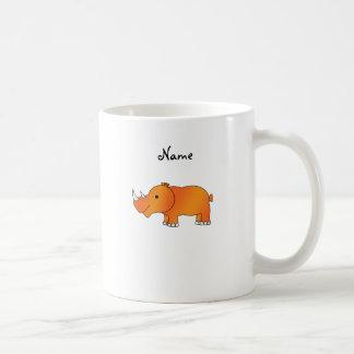 Rinoceronte anaranjado conocido personalizado taza