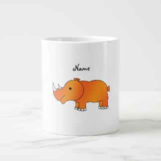 Rinoceronte anaranjado conocido personalizado taza grande