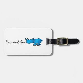 Rinoceronte azul lindo etiqueta de maleta