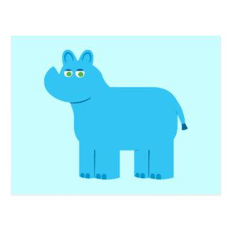 Rinoceronte azul lindo tarjeta postal