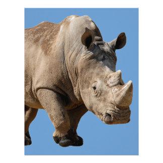 Rinoceronte blanco aislado dos membrete personalizado