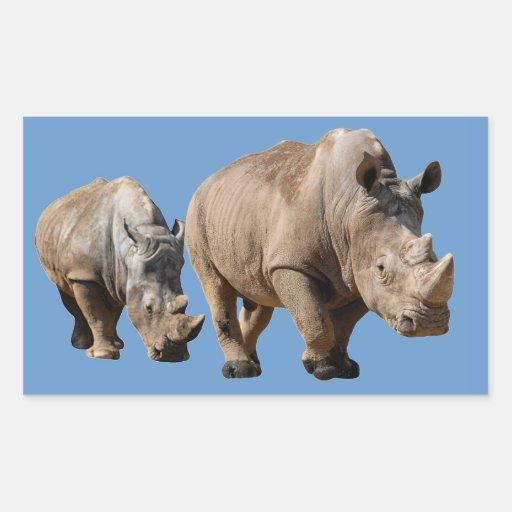 Rinoceronte blanco aislado dos rectangular pegatina