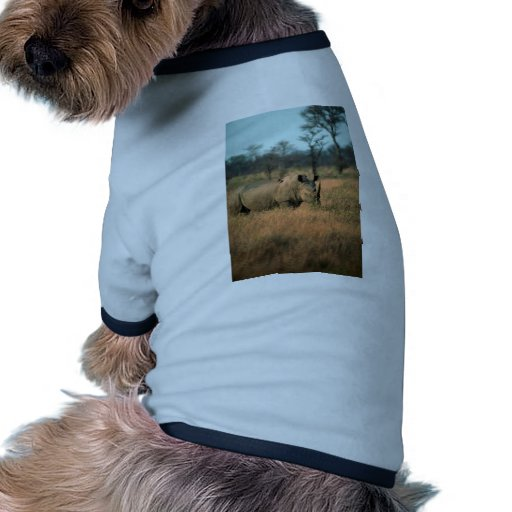 Rinoceronte blanco camiseta con mangas para perro