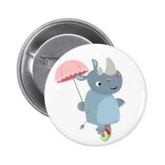 Rinoceronte con el paraguas en insignia del botón  pin