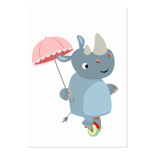 Rinoceronte con el paraguas en tarjeta de visita d