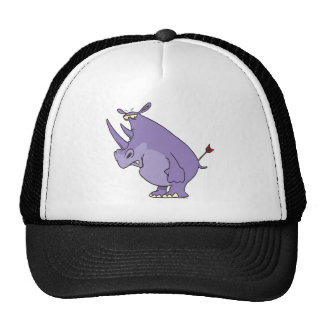 rinoceronte con la flecha en dibujo animado del ex gorro de camionero