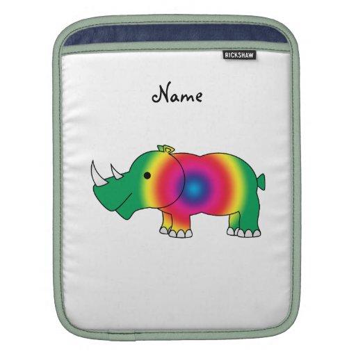 Rinoceronte conocido personalizado del arco iris fundas para iPads