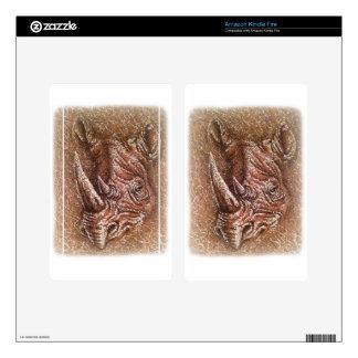 Rinoceronte de Brown que dibuja arte del animal Pegatinas Skins Para Kindle Fire